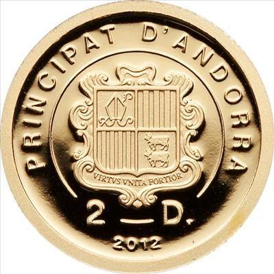 Andorra - 2012 - 2 Diners - Pare Pio 1/25 oz (PROOF)