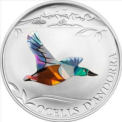 Andorra - 2012 - 1 Diners - Prism Birds NORTHERN SHOVELER (CuNi) (PROOF)