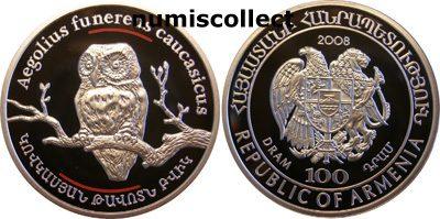 Armenia - 2008 - 100 Dram - Fauna Owl (PROOF)
