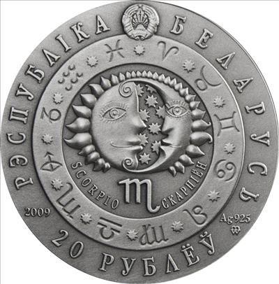 Belarus - 2009 - 20 roubles - Zodiac SCORPIO (PROOF)