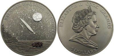 Cook Islands - 2007 - 5 Dollars - Meteorite Brenham Pallasite PALLADIUM PLATED (PROOF)