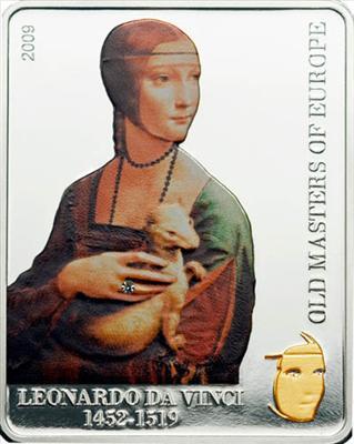 Cook Islands - 2009 - 5 Dollars - Leonardo Da Vinci Lady with an Ermine (serie Masters of Europe) GILDED (PROOF)