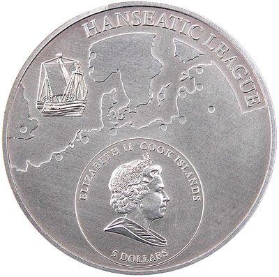 Cook Islands - 2009 - 5 Dollars - Hanseatic League city LUBECK (ANTIQUE)