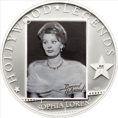 Cook Islands - 2011 - 5 Dollars - Hollywood Legends SOPHIA LOREN (PROOF)