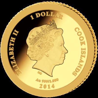 Cook Islands - 2014 - 1 Dollar - John Paul II Canonization 1/50 oz Gold (PROOF)