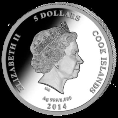 Cook Islands - 2014 - 5 Dollars - John Paul II Canonization  (PROOF)