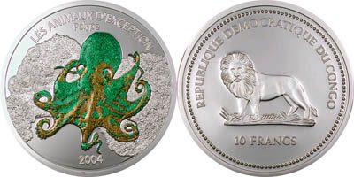 Congo - 2004 - 10 Francs - KMnew Octopus (PROOF)