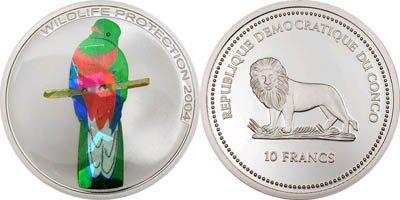 Congo - 2004 - 10 Francs - KMnew Birds Quetzal Silver (PROOF)