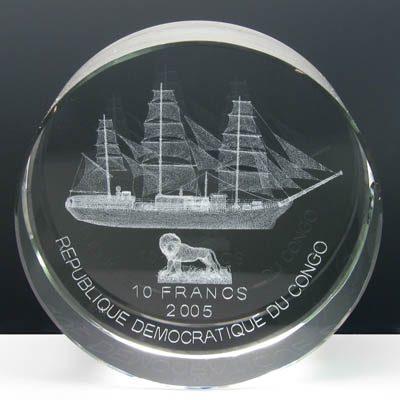 Congo - 2005 - 10 Francs - KMnew Ship Amerigo Vespucci (box included) (PROOF)