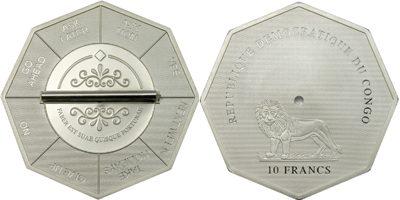 Congo - 2007 - 10 Francs - Decision Coin Octagonal (PROOF)