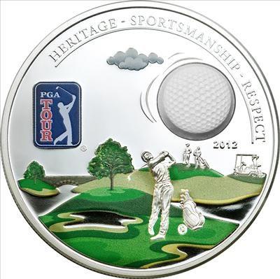 Cook Islands - 2012 - 5 dollars - PGA Tour GOLF BALL (including box) (PROOF)