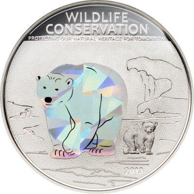 Cook Islands - 2013 - 5 dollars - Wildlife Conservation POLAR BEAR (including box) (PROOF)