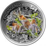 Fiji - 2015 - 10 Dollars - Exotic Endangered Wildlife PROBOSCIS MONKEY (ANTIQUE)