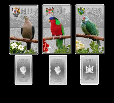 Niue, Fiji & Pitcairn Island - 2013 - 3x2 Dollars - Birds of the Pacific Islands (PROOF)
