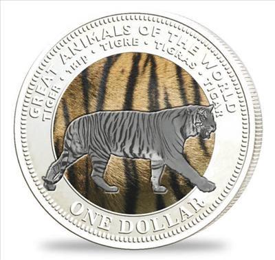Fiji - 2009 - 1 Dollar - Animals of the World TIGER silver (PROOF)