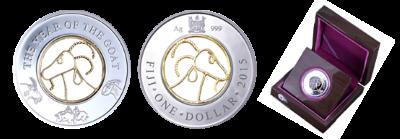Fiji - 2015 - 1 Dollar - Year of the Goat FILIGREE (PROOF)