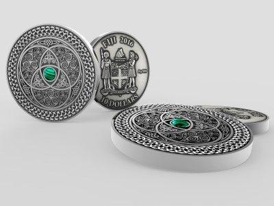 Fiji - 2016 - 10 Dollars - Mandala Art II Malachite CELTIC (including box) (ANTIQUE)