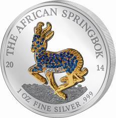 Gabon - 2014 - 5 x 1000 Francs - Springbok Pavé Coin set (PROOF)