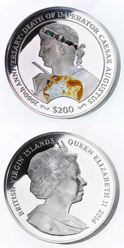 British Virgin Islands - 2014 - 200 Dollar - Augustus Caesar Coin (PROOF)