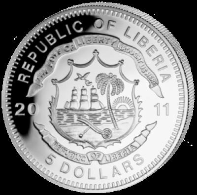 Liberia - 2011 - 5 Dollar - Railroad CHINA RAILWAYS TYP SY  (PROOF)