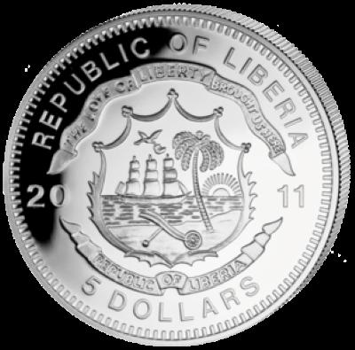 Liberia - 2011 - 5 Dollar - Railroad TRANS-EUROP EXPRESS (PROOF)