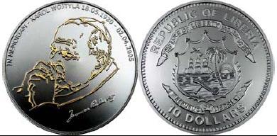 Liberia - 2005 - 10 Dollars - KMnew Memoriam Pope John Paul II SILVER (PROOF)
