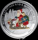 Liberia - 2 dollar - Santa Claus on Sled (PROOF)