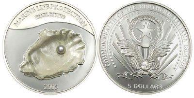 Mariana Islands - 2005 - 5 Dollars - KMnew Shell & Pearl (PROOF)