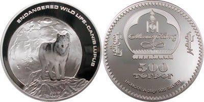 Mongolia - 2003 - 500 Tugrik - KMnew Wild Life Grey Wolf silver (PROOF)
