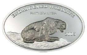 Mongolia - 2005 - 500 Tugrik - KMnew Snow Leopard metal: Niobium (PROOF)