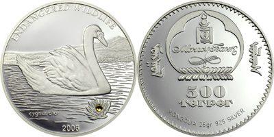 Mongolia - 2006 - 500 Togrog - Swan Cygnus Olor Silver (PROOF)