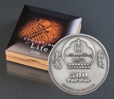 Mongolia - 2016 - 500 Togrog - Evolution of Life TRILOBITE (including box) (ANTIQUE)