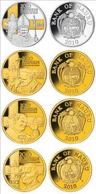 Nauru - 2010 - 2x10, 25, 50 Dollar - In Memoriam - Pope John Paul II (PROOF)