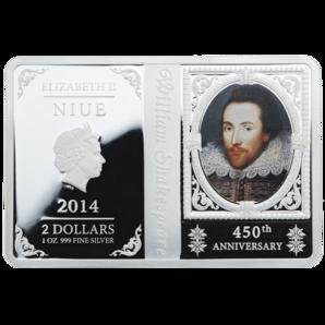 Niue - 2014 - 2 Dollars - 450th Anniversary William Shakespeare (PROOF)