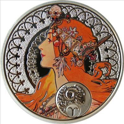 Niue - 2011 - 1 Dollar - Zodiac Mucha ARIES (PROOF)