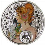 Niue - 2011 - 1 Dollar - Zodiac Mucha GEMINI (PROOF)