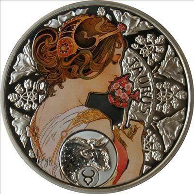 Niue - 2011 - 1 Dollar - Zodiac Mucha TAURUS (PROOF)