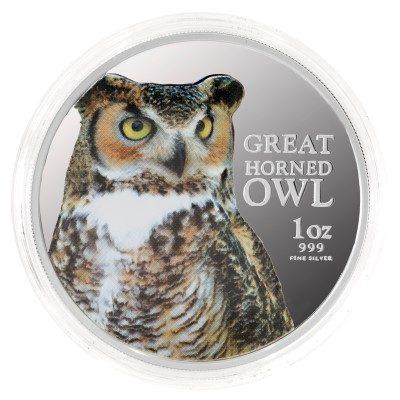 Niue - 2013 - 2 Dollars - Birds of Prey GREAT HORNED OWL (PROOF)