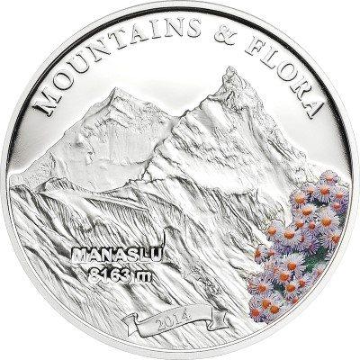 Palau - 2014 - 5 Dollars - Mountains and Flora MANASLU (including box) (PROOF)