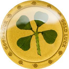 Palau - 2015 - 1 Dollar - Four Leaf Clover in Gold (PROOF)