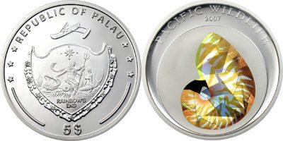 Palau - 2007 - 5 Dollars - Nautilus Prism Silver (PROOF)