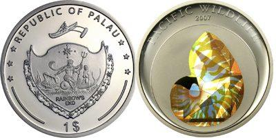 Palau - 2007 - 1 Dollar - Nautilus Prism CuNi (PROOF)