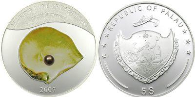 Palau - 2007 - 5 Dollars - Pearl Oyster Pnctada Maxima (PROOF)