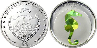 Palau - 2007 - 5 Dollars - Seahorse Prism Silver (PROOF)