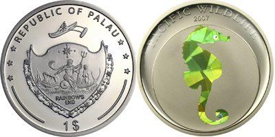 Palau - 2007 - 1 Dollar - Seahorse Prism CuNi (PROOF)