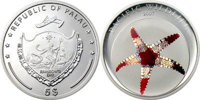 Palau - 2007 - 5 Dollars - Sea Star Prism Silver (PROOF)