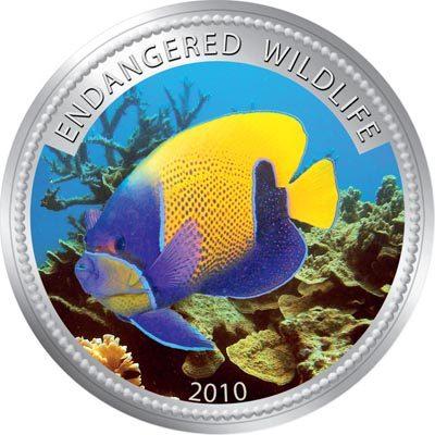Palau - 2009 - 1 Dollar - Blue-gridled angelfi sh (PROOF)
