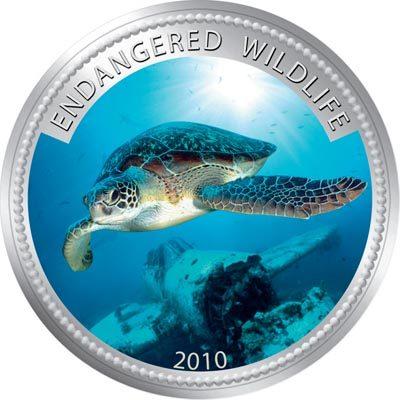 Palau - 2009 - 1 Dollar - Green turtle (PROOF)