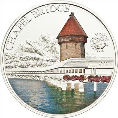 Palau - 2011 - 5 Dollars - World of Wonders CHAPEL BRIDGE (PROOF)