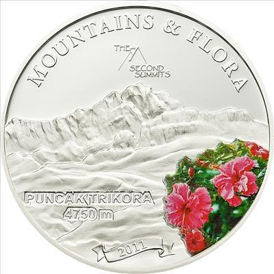 Palau - 2011 - 5 Dollars - Flora & Mountains PUNCAK TRIKORA (PROOF)